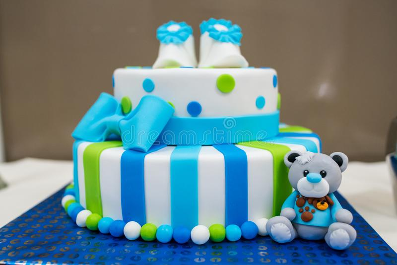 Colored newborn cake stock images