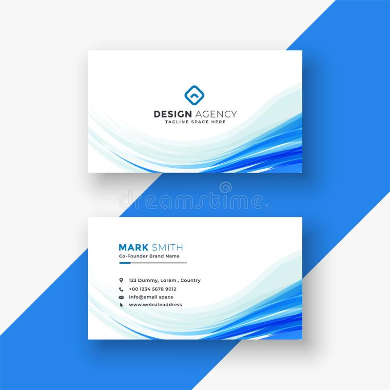 Elegant white business card with blue wave stock illustration
