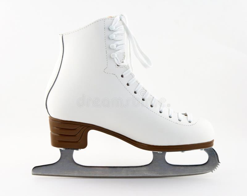 Elegant white figure skate. For training and leisure stock photo