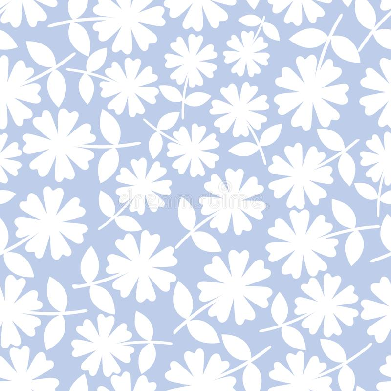 Elegant white flowers in ditsy floral design. Seamless vector pattern on light blue background. Great for wellness vector illustration