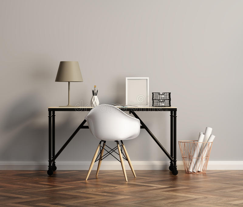 Elegant white home office table with chair. Rendering of an Elegant white home office table with chair royalty free stock images