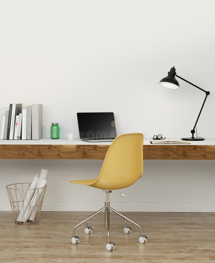 Elegant white home office with yellow chair stock image