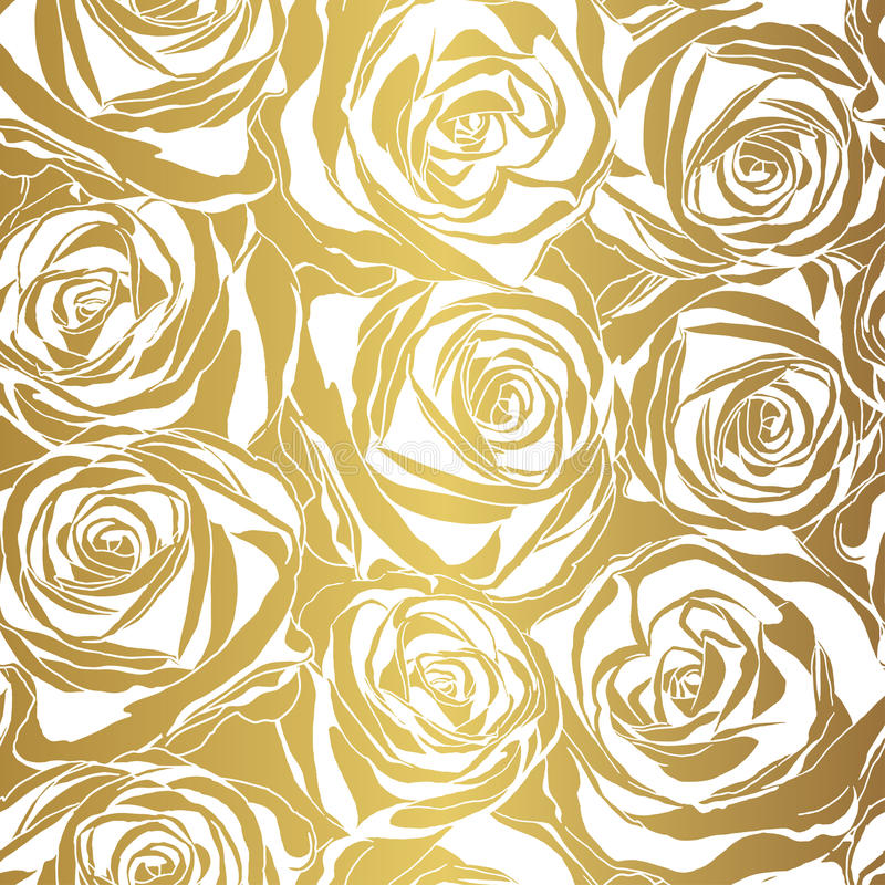 Download Elegant White Rose Pattern On Gold Background Stock Vector