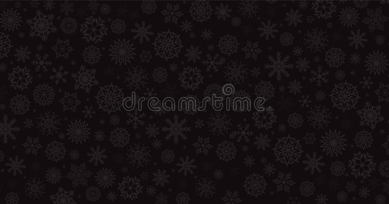 Elegant winter black background with silver falling snow flakes. stock illustration