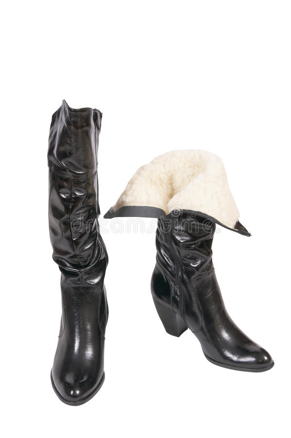 Elegant Winter Boots For Women On A White. Stock Images