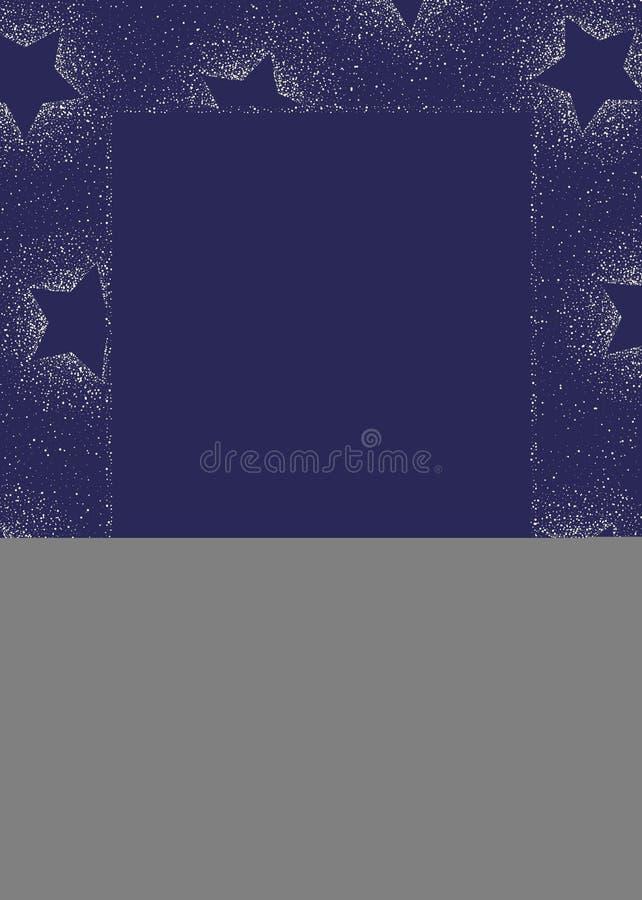 Elegant Winter Holidays Stardust and Stars on Dark blue Background Square Vertical Vector Frame. Magical Winter Holidays Stardust and Stars on Dark Blue vector illustration