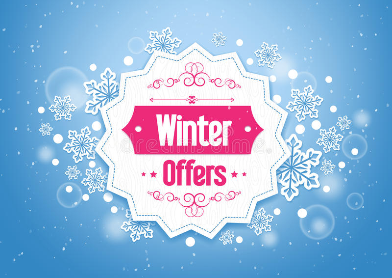 Elegant Winter Offers in Snow Flakes Background stock illustration