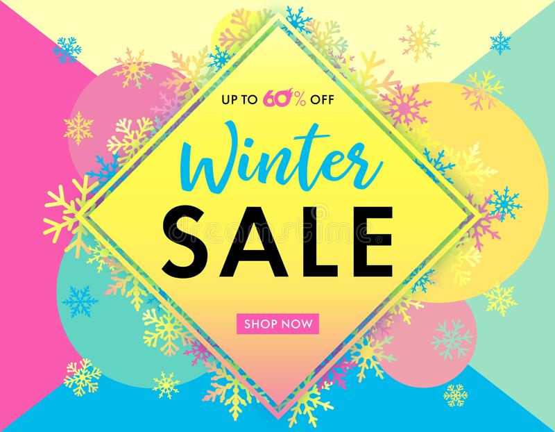 Elegant winter sale banner colored vector illustration