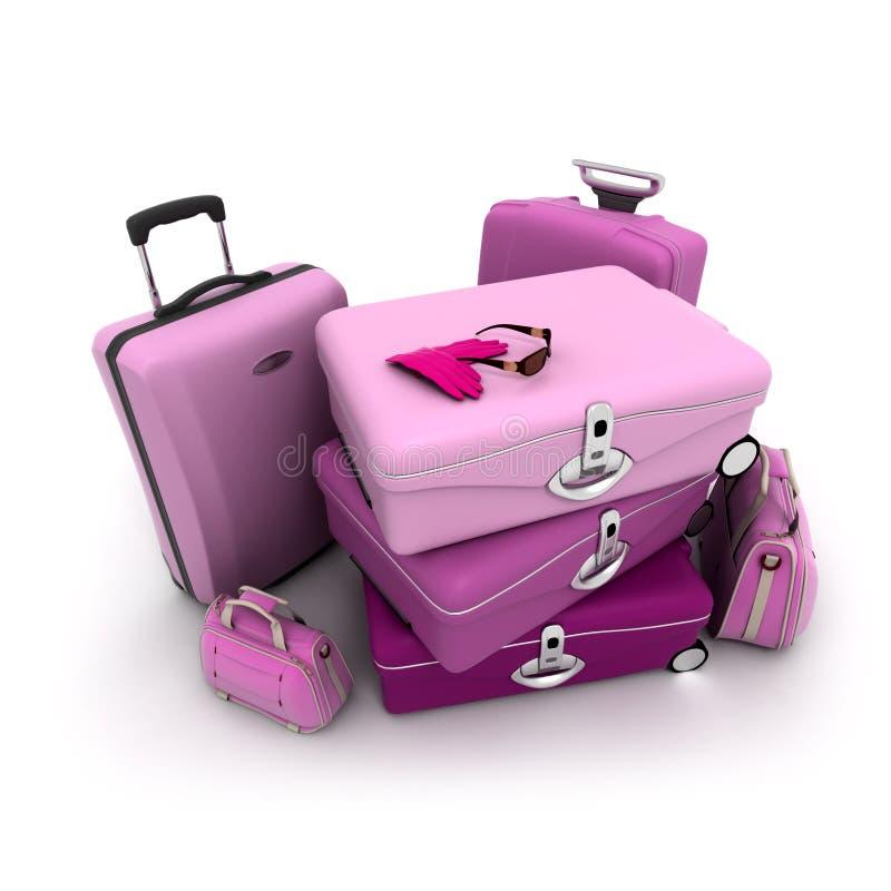 Elegant woman baggage royalty free illustration