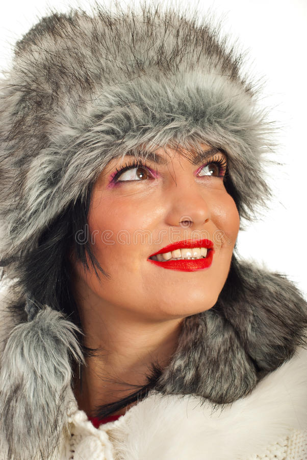 Download Elegant Woman In Fur Hat Looking Up Royalty Free Stock Photo - Image: 22551805