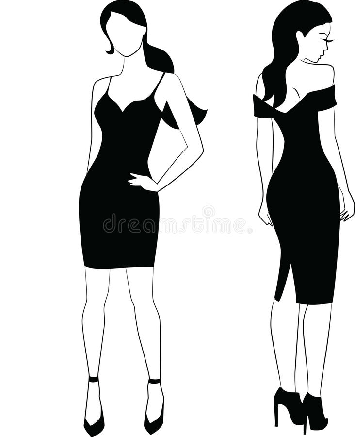 Elegant woman in little black dress royalty free stock photo