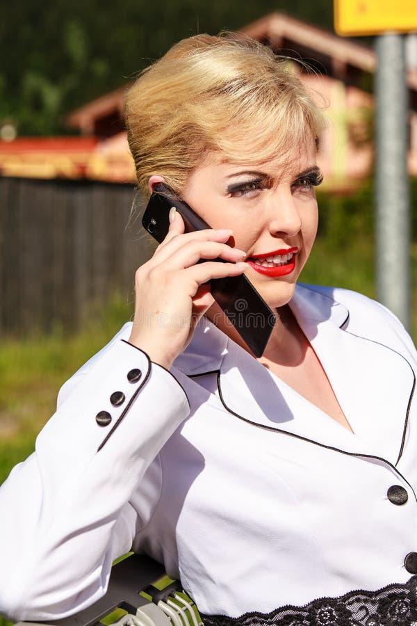 Download Elegant Woman at phone stock image. Image of full, close - 25787409