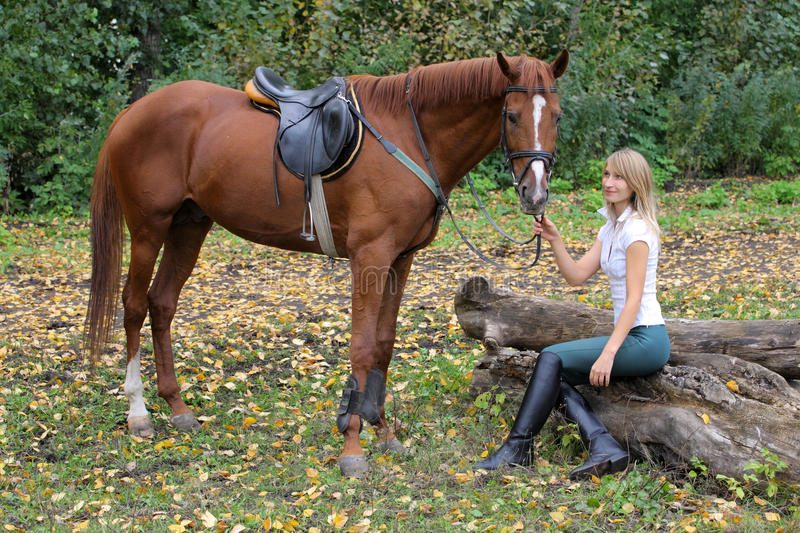 Elegant woman posing with brown racehorse. Fashionable portrait of a beautiful young woman and horse stock photos