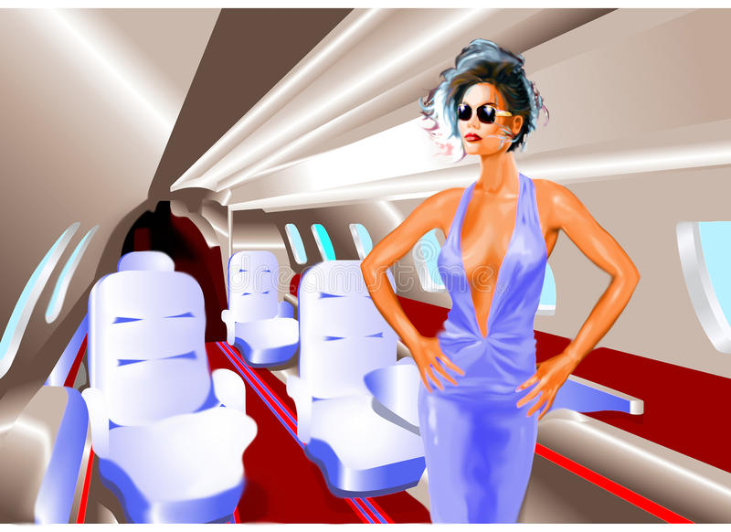 Elegant Woman in a Private Jet stock photos