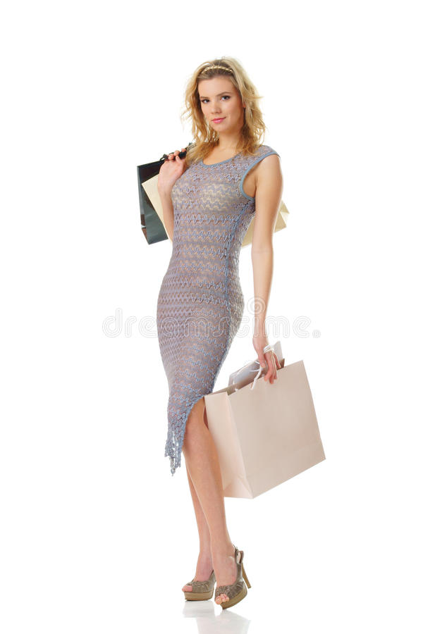 Elegant woman on shopping royalty free stock photos