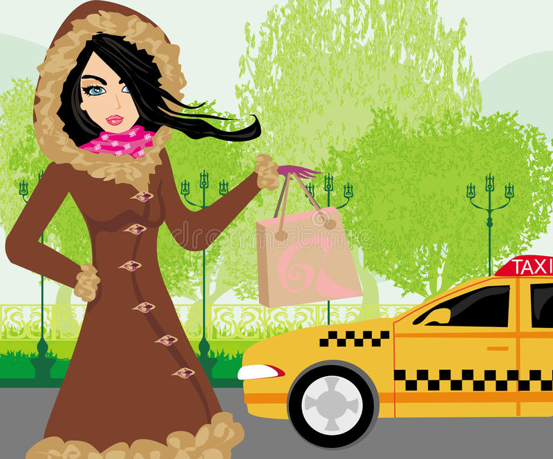Download Elegant Woman Waiting For A Taxi Stock Vector - Illustration of free, country: 37713168