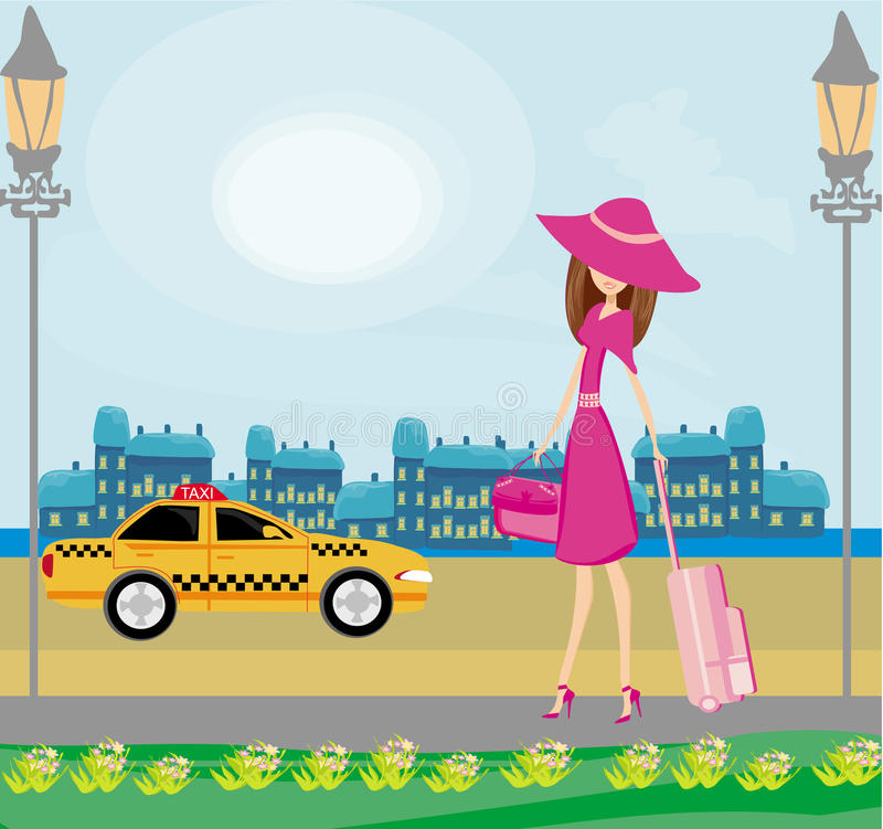 Elegant woman waiting for a taxi stock illustration