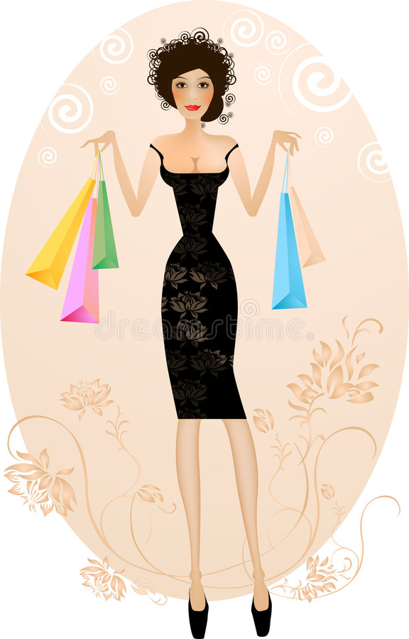 Free Elegant Woman With Purchase Ba Stock Image - 1781841