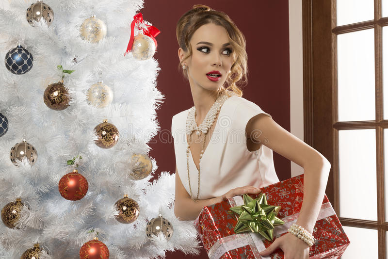 Elegant woman with xmas present royalty free stock images