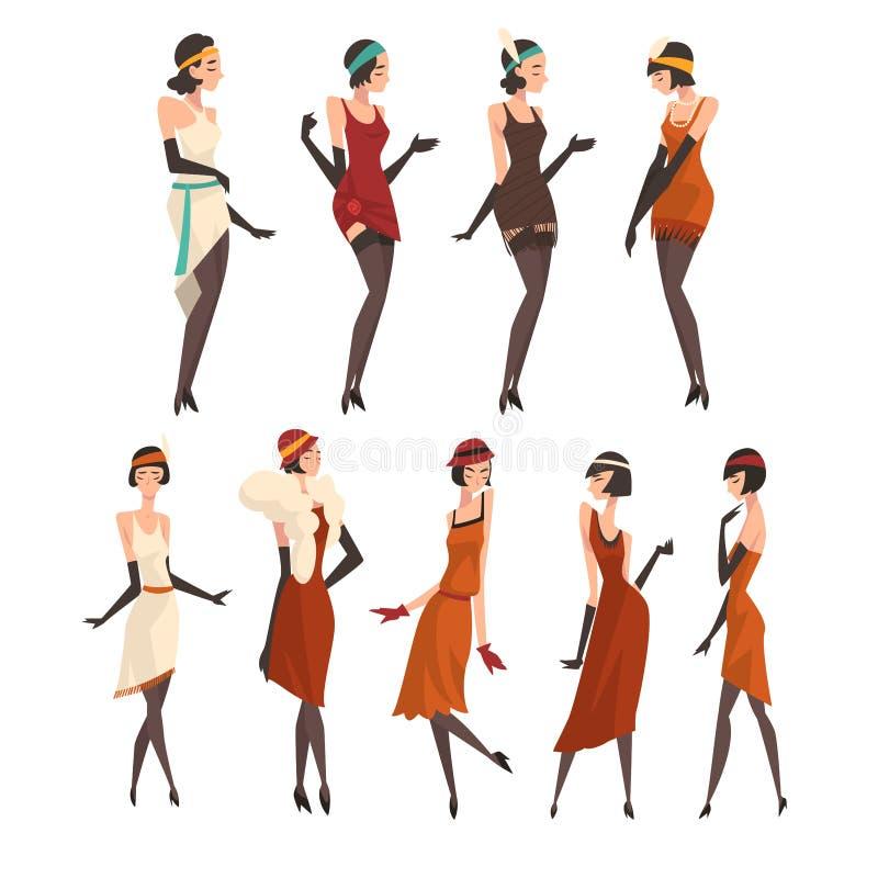 Elegant Women in Retro Dresses, Black Stockings and Gloves Set, Beautiful Flapper Girls of 1920s, Art Deco Style Vector vector illustration