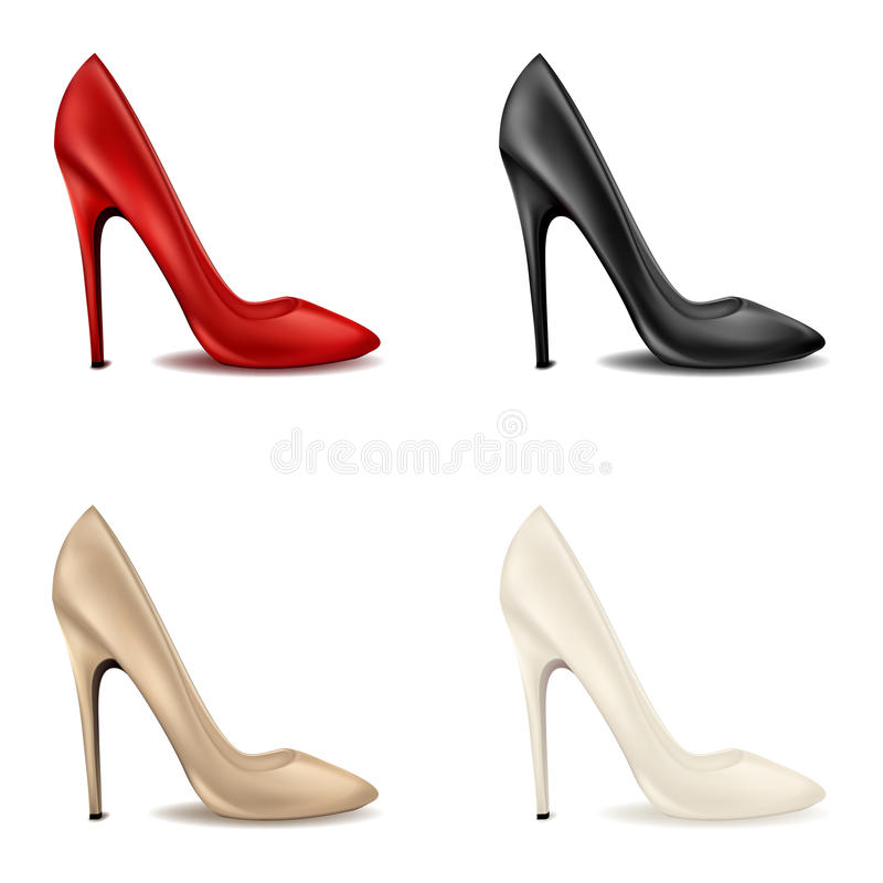 Elegant women's red shoes on the bright high-heeled Set of female classic shoes with high heels in different colors. Clipart on white background stock illustration