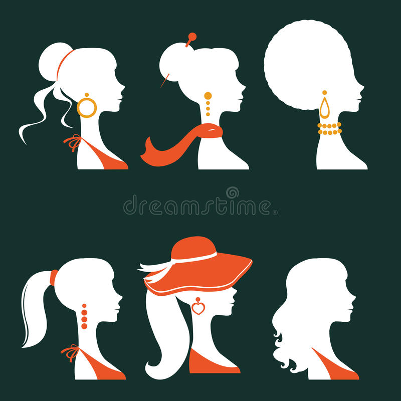 Elegant women silhouettes stock illustration