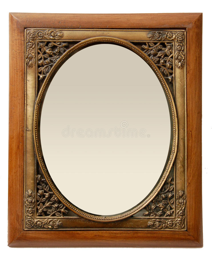 Elegant Wood and Brass Photo Frame. An Old Style Brass and Wooden Photo Frame stock image