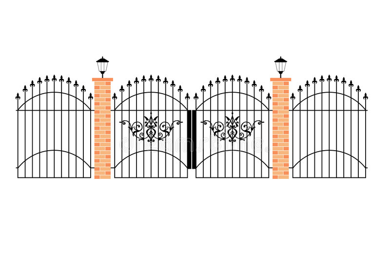 Download Elegant Wrought Iron Gates Wit Stock Vector - Illustration: 3405345