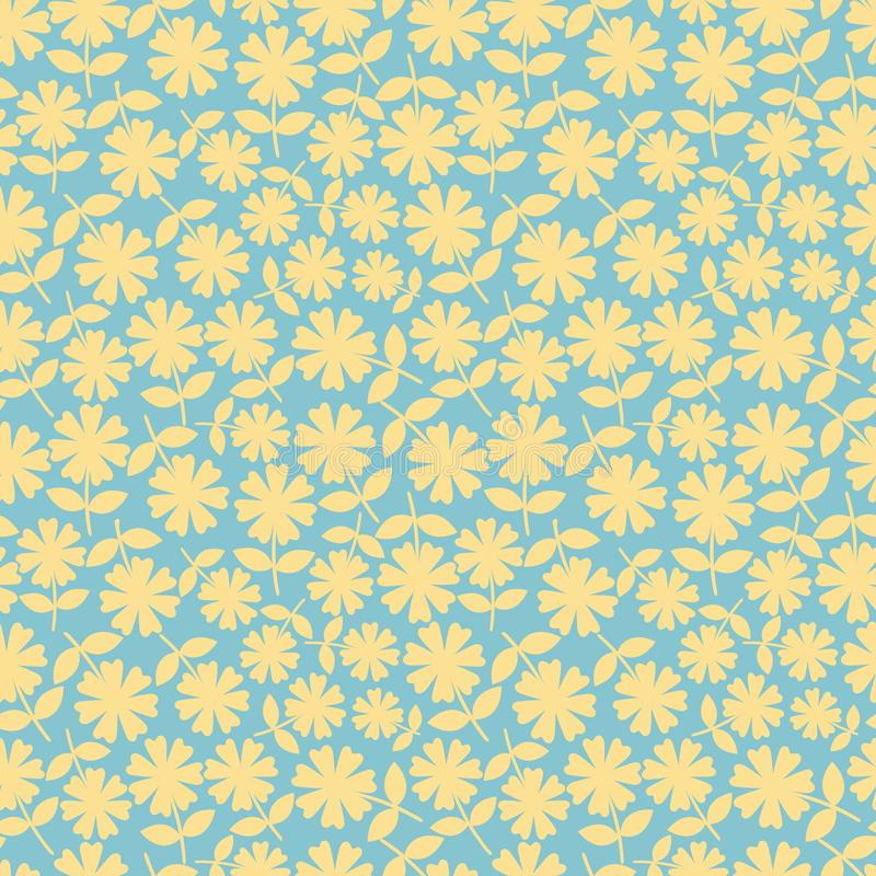 Elegant yelllow flowers in ditsy floral design. Seamless vector pattern on aqua blue background. Great for wellness vector illustration