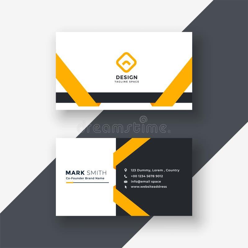 Elegant yellow business card template vector illustration