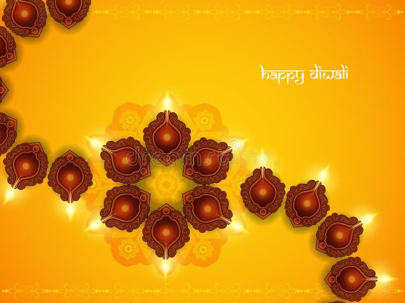 Elegant yellow color card design for diwali festival stock illustration