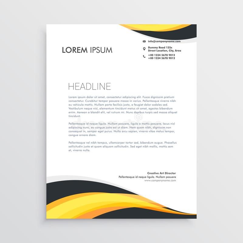 Elegant yellow and gray waves letterhead template royalty free illustration