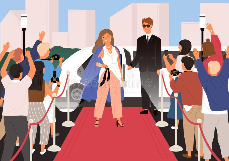 Elegant young beautiful woman, female celebrity, movie star or superstar posing in front of photographers during red vector illustration