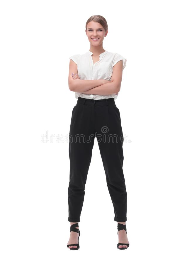 Elegant young business woman. isolated on white royalty free stock photo