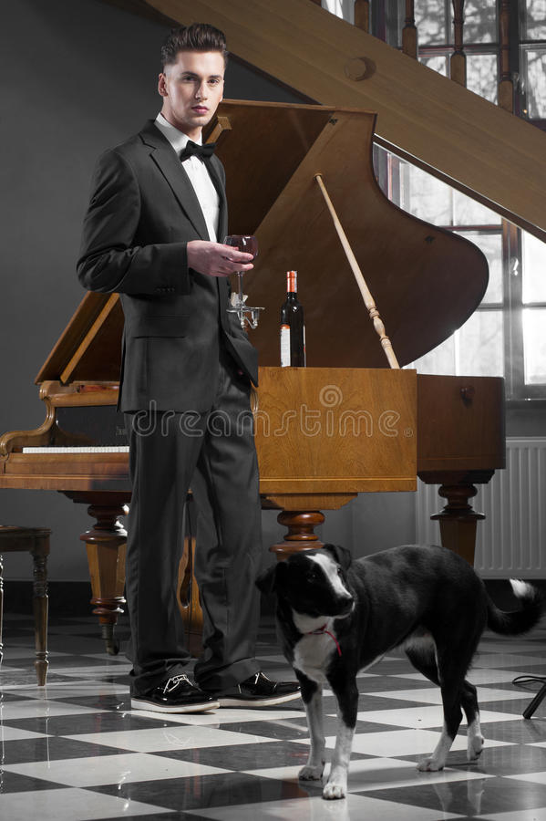 Elegant young man with piano stock photo