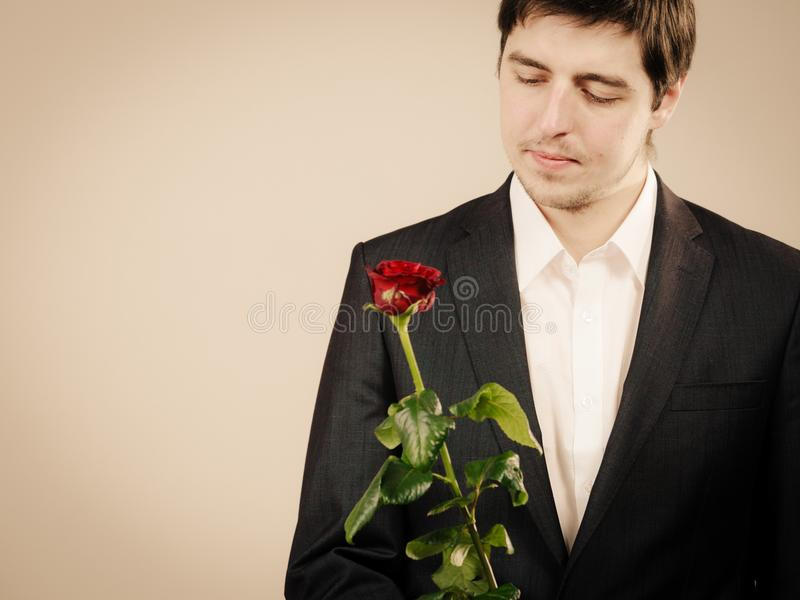 Elegant young man with red rose. royalty free stock photos