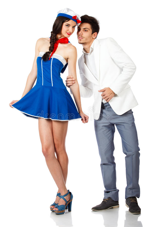 Elegant young man and sexy sailor woman