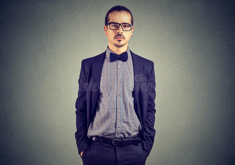 Elegant young man in suit stock image