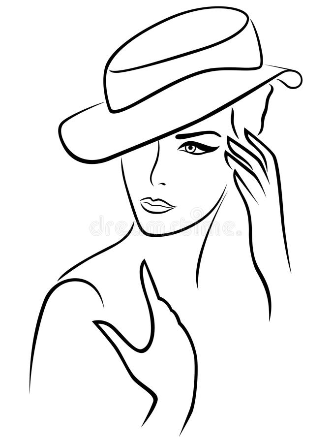 Elegant young woman in a hat. Hand drawing black vector outline on a white background stock illustration