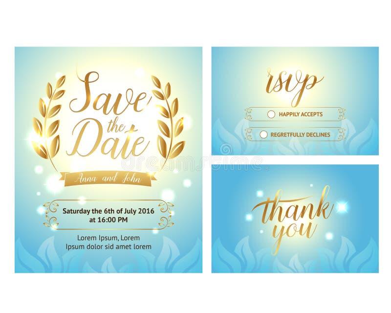 Elegant Zacht die huwelijk met hand het van letters voorzien en mooie achtergrond wordt geplaatst Omvat sparen de datum, rsvp en  vector illustratie