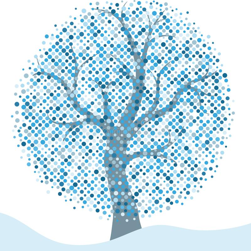 Elegant zilveren Kerstmiskader met geïsoleerde gestileerde de winterboom vector illustratie
