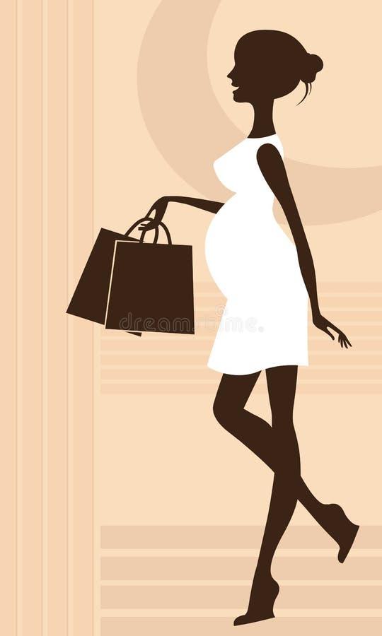 Elegant zwanger vrouwensilhouet vector illustratie