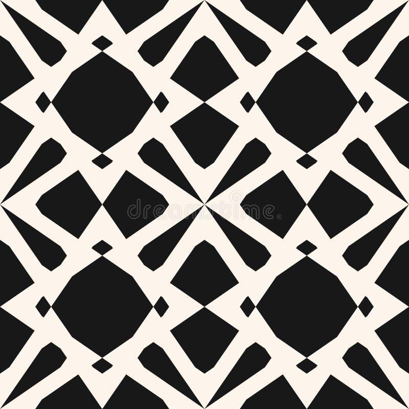 Elegant zwart-wit ornament met diamantvormen, bloemsilhouetten, net Abstract herhaal achtergrond vector illustratie