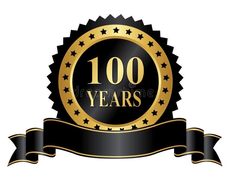 Eleganta 100 år årsdagstämpel med bandet stock illustrationer