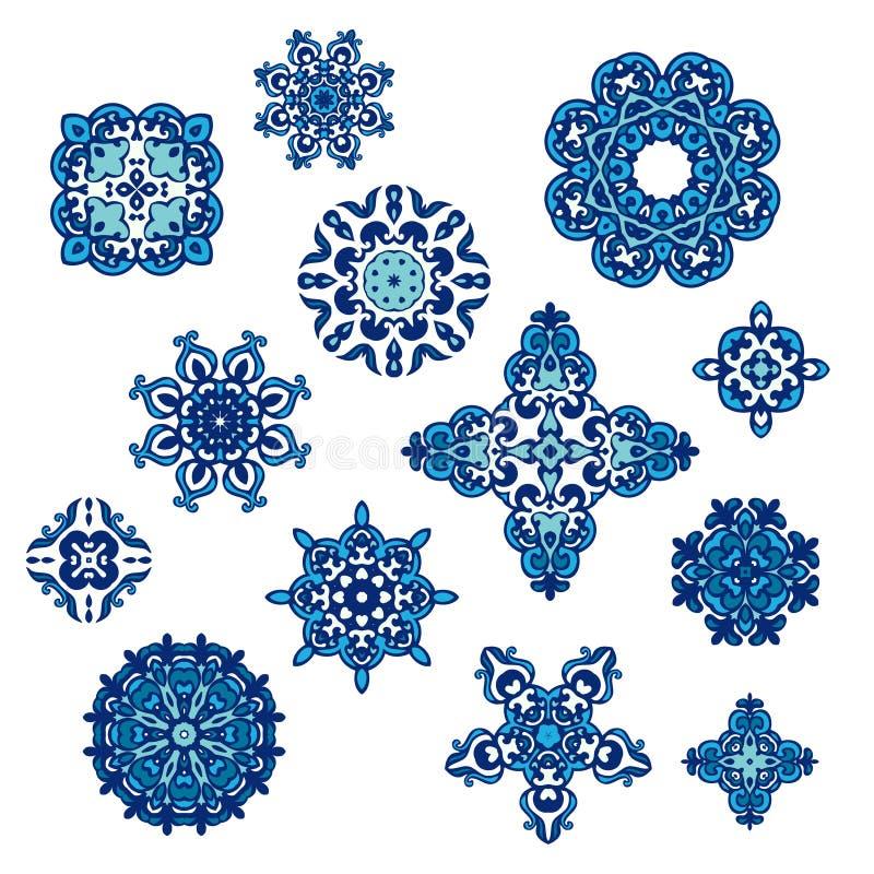 Eleganta blom- abstrakta beståndsdelar för vintermodell vektor illustrationer