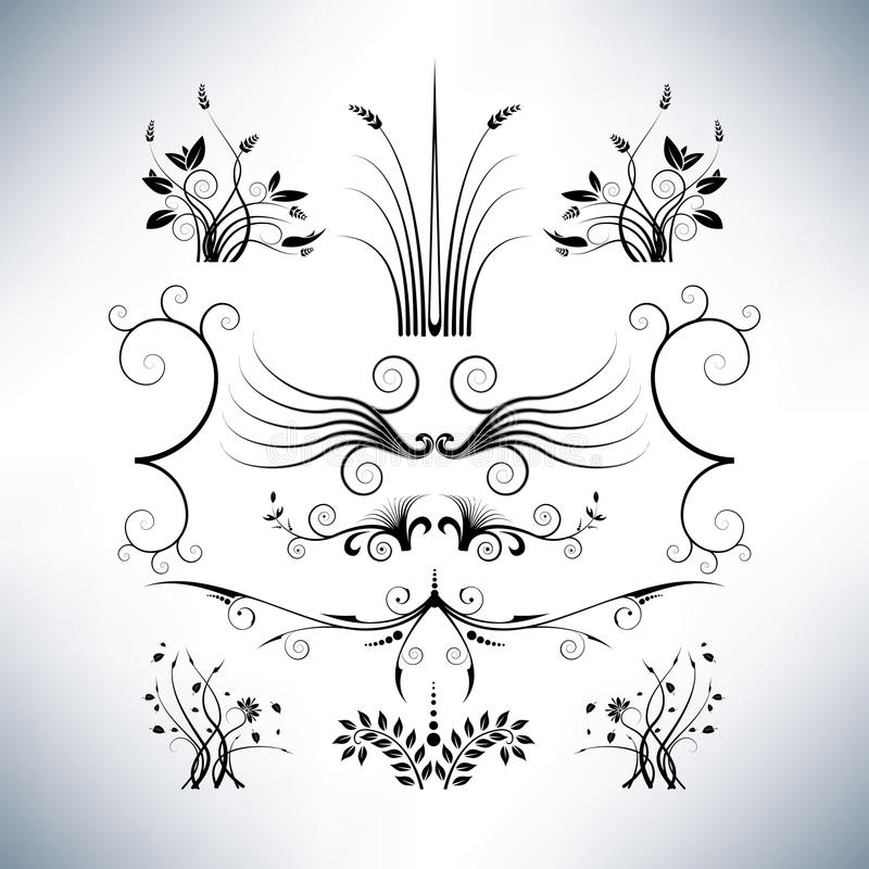Eleganta blom- designer royaltyfri illustrationer