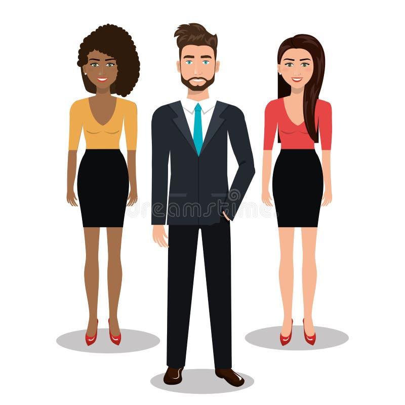 Eleganta businesspeople isolerade symbolsdesign royaltyfri illustrationer