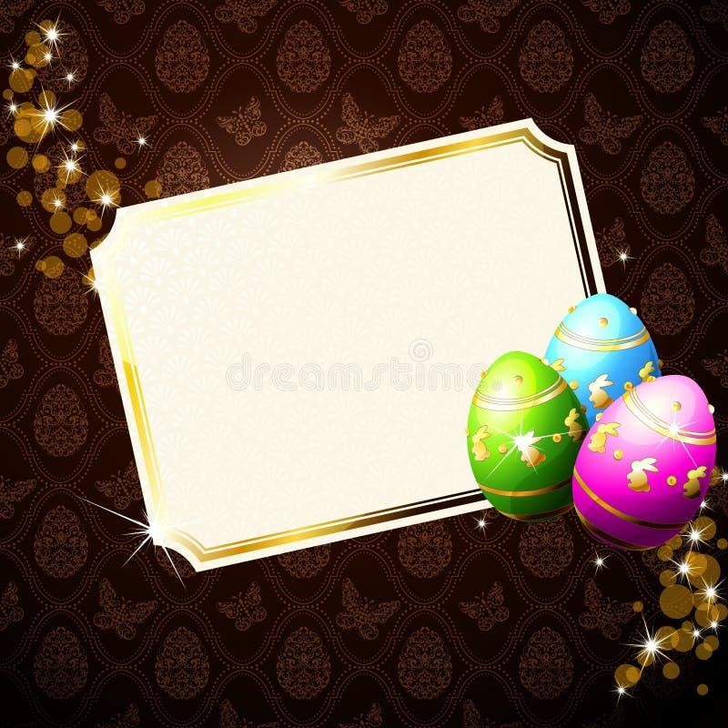 eleganta dekorerade eastereggs för bakgrund brown vektor illustrationer