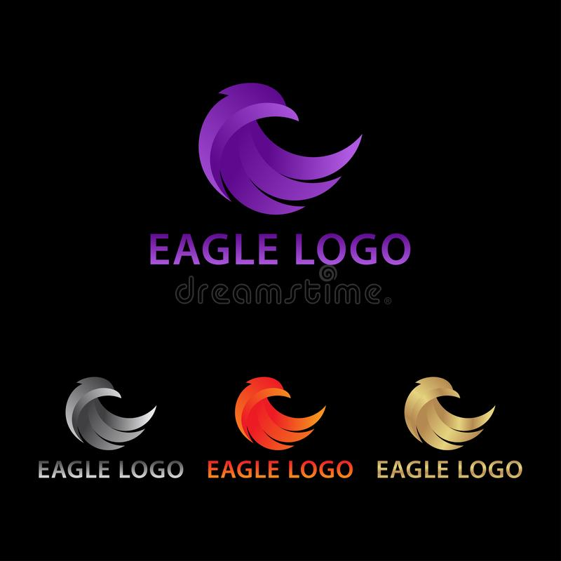 Eleganta Eagle Logo Look Back Concept royaltyfri illustrationer