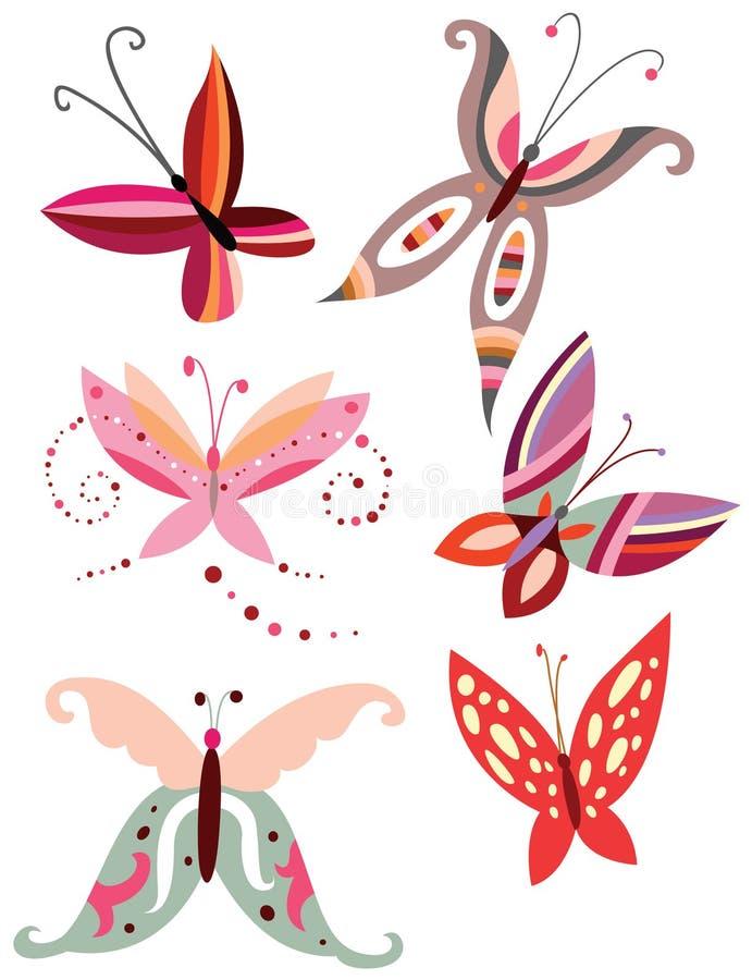eleganta fjärilar royaltyfri illustrationer